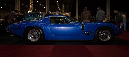 gt: MAASTRICHT, NETHERLANDS - JANUARY 08, 2015: Sports car Bizzarrini Strada GT 5300. International Exhibition InterClassics & Topmobiel 2015