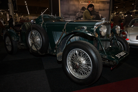 litre: MAASTRICHT, NETHERLANDS - JANUARY 08, 2015: Sports car Bentley 4,5 Litre, owned by Rivers Fletcher. International Exhibition InterClassics & Topmobiel 2015