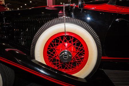 speedster: MAASTRICHT, NETHERLANDS - JANUARY 09, 2015: Fragment of a Auburn 8-100 Boattail Speedster, Straight Eight, 1931. International Exhibition InterClassics & Topmobiel 2015