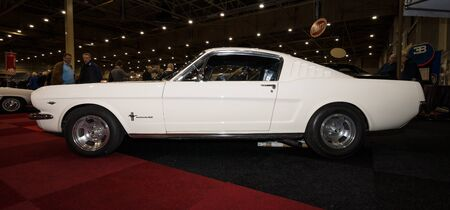 mustang gt: MAASTRICHT, NETHERLANDS - JANUARY 09, 2015: A pony car Ford Mustang GT Fastback, 1965. International Exhibition InterClassics & Topmobiel 2015