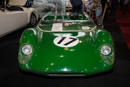 chapman: MAASTRICHT, NETHERLANDS - JANUARY 09, 2015: Racing car Lotus 23B designed by Colin Chapman, 1963. International Exhibition InterClassics & Topmobiel 2015
