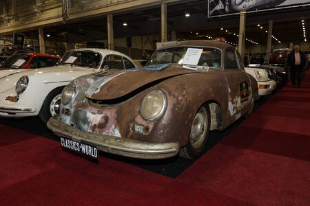 coupe: MAASTRICHT, NETHERLANDS - JANUARY 09, 2015: Rusty body Porsche 356 pre A coupe Continental, 1955. International Exhibition InterClassics & Topmobiel 2015