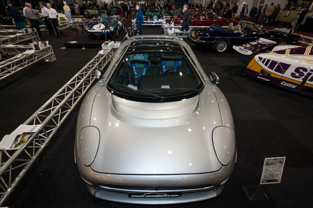 supercar: MAASTRICHT, NETHERLANDS - JANUARY 09, 2015: British luxury supercar Jaguar XJ220, 1992. International Exhibition InterClassics & Topmobiel 2015