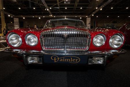 daimler: MAASTRICHT, NETHERLANDS - JANUARY 09, 2015: Luxury car Daimler Sovereign Double-Six Serie 2 LWB, 1973. International Exhibition InterClassics & Topmobiel 2015