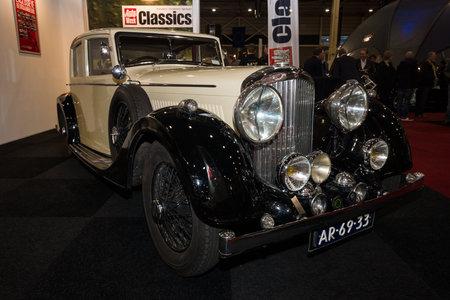 mann: MAASTRICHT, NETHERLANDS - JANUARY 09, 2015: Oldtimer Bentley 4.5 Litre Sport Saloon, 1937. Coachbuilder Mann Egerton. Design Razor Edge. International Exhibition InterClassics & Topmobiel 2015 Editorial
