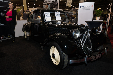 traction: MAASTRICHT, NETHERLANDS - JANUARY 09, 2015: French mid-size luxury car Citroen Traction Avant, 1952. International Exhibition InterClassics & Topmobiel 2015 Editorial