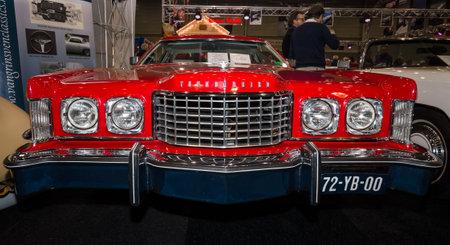 thunderbird: MAASTRICHT, NETHERLANDS - JANUARY 09, 2015: A large personal luxury coupe Ford Thunderbird (sixth generation), 1976. International Exhibition InterClassics & Topmobiel 2015