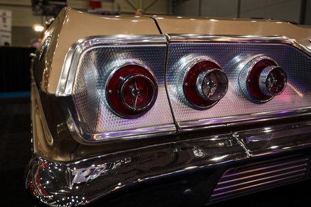 chevrolet: MAASTRICHT, NETHERLANDS - JANUARY 09, 2015: The stop lights Chevrolet Impala SS Convertible, 1963. International Exhibition InterClassics & Topmobiel 2015