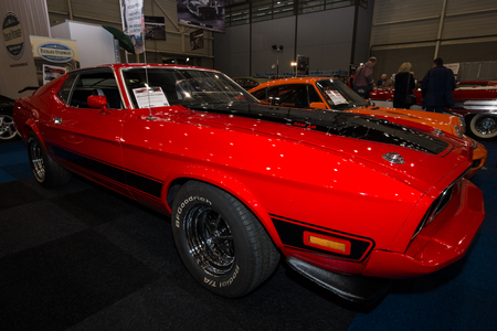 mach: MAASTRICHT, NETHERLANDS - JANUARY 09, 2015: The muscle car Ford Mustang Mach 1, 1973. International Exhibition InterClassics & Topmobiel 2015