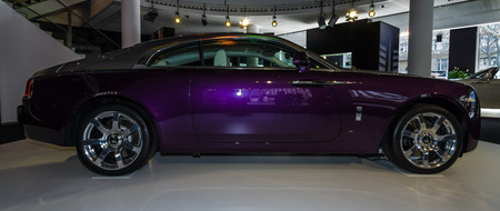 wraith: BERLIN - MARCH 08, 2015: Showroom. Full-size car Rolls-Royce Wraith (2013). Rolls-Royce Motor Cars Limited global manufacturer of luxury cars.