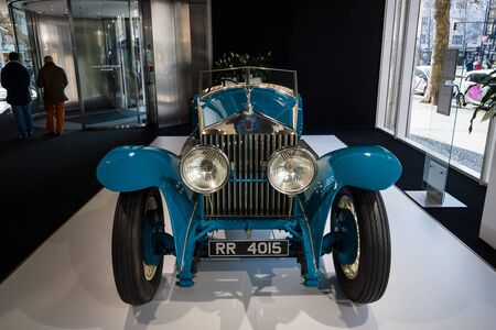 co: BERLIN - MARCH 08, 2015: Showroom. Rolls-Royce Phantom I Experimental Sports Tourer by Barker & Co., 1926. Rolls-Royce Motor Cars Limited global manufacturer of luxury cars. Editorial