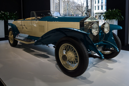 the experimental: BERLIN - MARCH 08, 2015: Showroom. Rolls-Royce Phantom I Experimental Sports Tourer by Barker & Co., 1926. Rolls-Royce Motor Cars Limited global manufacturer of luxury cars. Editorial