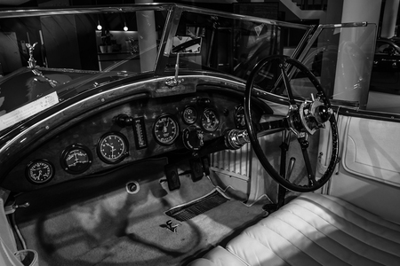 barker: BERLIN - MARCH 08, 2015: Showroom. Cabin of a Rolls-Royce Phantom I Experimental Sports Tourer by Barker & Co., 1926. Black and white. Rolls-Royce Motor Cars Limited global manufacturer of luxury cars.