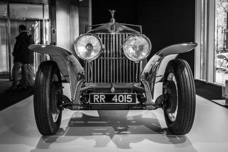 barker: BERLIN - MARCH 08, 2015: Showroom. Rolls-Royce Phantom I Experimental Sports Tourer by Barker & Co., 1926. Black and white. Rolls-Royce Motor Cars Limited global manufacturer of luxury cars.