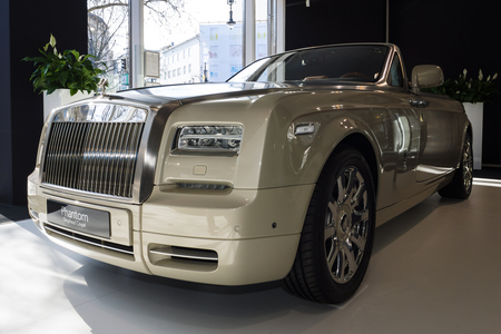 phantom: BERLIN - MARCH 08, 2015: Showroom. Luxury car Rolls-Royce Phantom Drophead Coupe. Rolls-Royce Motor Cars Limited global manufacturer of luxury cars.