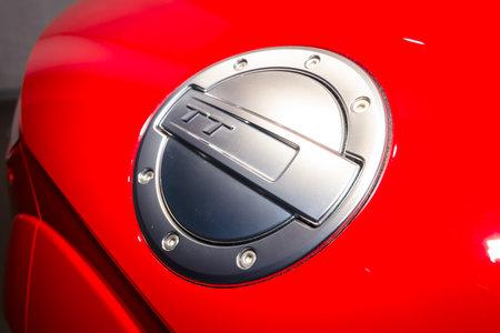 BERLIN - MARCH 08, 2015: Showroom. The fuel tank cap of a sports car Audi TT 2.0 T quattro (2014). Audi AG  is a German automobile manufacturer.