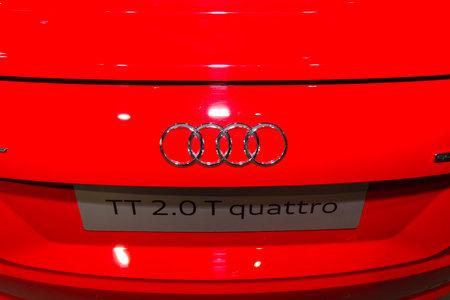 BERLIN - MARCH 08, 2015: Showroom. Emblem of a sports car Audi TT 2.0 T quattro (2014). Audi AG  is a German automobile manufacturer.