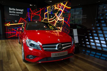 produced: BERLIN - JANUARY 24, 2015: Showroom. Compact car Mercedes-Benz A200 CGI BE. Produced since 2013.