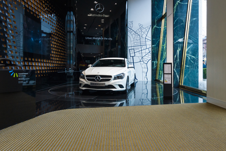 produced: BERLIN - JANUARY 24, 2015: Showroom. Compact executive car Mercedes-Benz CLA200. Produced since 2013.