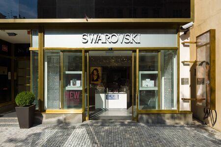 producer: PRAGUE - SEPTEMBER 20, 2014: Swarovski Boutique in Old Town. Swarovski is an Austrian producer of luxury cut lead glass (crystal). Editorial