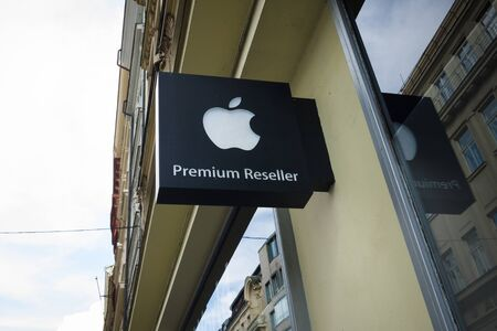 consumer electronics: PRAGUE - SEPTEMBER 20, 2014: Apple Premium Reseller: iWorld. Apple Store is a chain of retail stores owned and operated by Apple, Dealing in computers and consumer electronics.