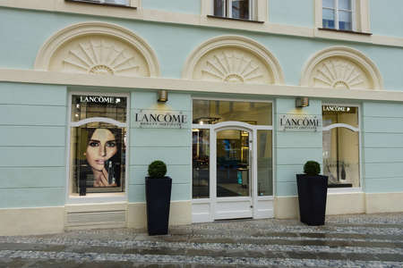 internationally: PRAGUE - SEPTEMBER 20, 2014: Lancome boutique. Lancome Paris is a French luxury perfumes and cosmetics house that distributes products internationally.