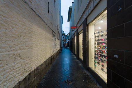 limburg: MAASTRICHT, NETHERLANDS - JANUARY 09, 2015: The narrow shopping streets in the historic center. Maastricht is the oldest city of the Netherlands and the capital city of the province of Limburg. Editorial
