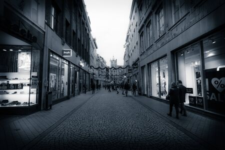 limburg: MAASTRICHT, NETHERLANDS - JANUARY 09, 2015: The streets in the historic center. Vintage toning. Stylization. Vignetting. Maastricht is the oldest city of the Netherlands and the capital city of the province of Limburg. Editorial