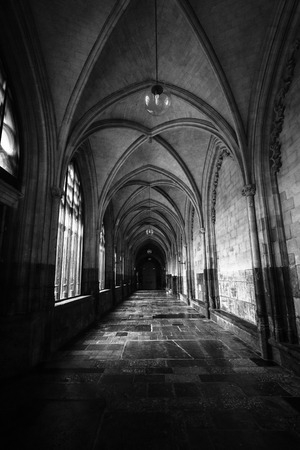 MAASTRICHT, NETHERLANDS - JANUARY 09, 2015: Interior of Basilica of St. Servatius. Black and white. The Basilica of St. Servatius is a oldest Roman catholic church the Netherlands. Editorial
