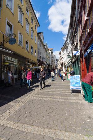 MARBURG, GERMANY - APRIL 18, 2015: Historic streets of the old quarters of Marburg. District Oberstadt. Marburg is a university town in the German federal state (Bundesland) of Hessen.