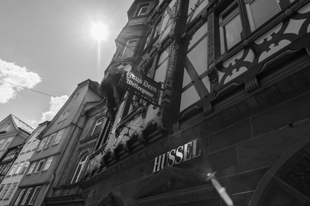 hessen: MARBURG, GERMANY - APRIL 18, 2015: The beautiful building facades of old Marburg. Black and white. Marburg is a university town in the German federal state (Bundesland) of Hessen.