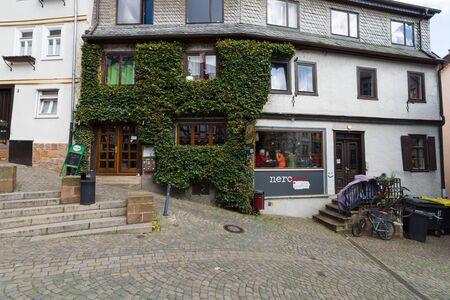 MARBURG, GERMANY - APRIL 18, 2015: Historic streets of the old quarters of Marburg. District Oberstadt. Marburg is a university town in the German federal state (Bundesland) of Hessen.