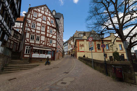 hessen: MARBURG, GERMANY - APRIL 18, 2015: Historic streets of the old quarters of Marburg. Marburg is a university town in the German federal state (Bundesland) of Hessen.