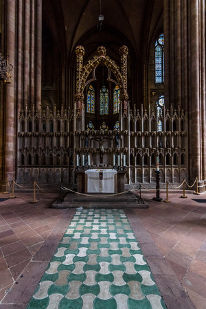 honour: MARBURG, GERMANY - APRIL 18, 2015: Interior of St. Elizabeths Church. The medieval church was built by the Order of the Teutonic Knights in honour of St. Elizabeth of Hungary.