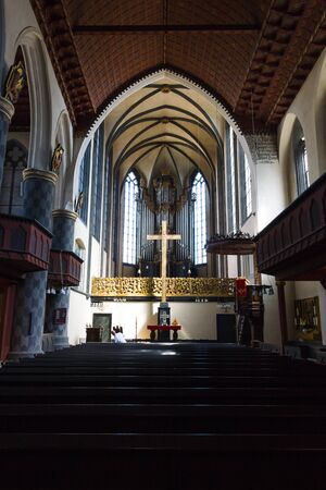 evangelical: MARBURG, GERMANY - APRIL 18, 2015: Interior of University Church of Marburg. Medieval Evangelical church in the Gothic style. Editorial