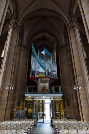 teutonic: MARBURG, GERMANY - APRIL 18, 2015: The church organ and interior of St. Elizabeths Church. The medieval church was built by the Order of the Teutonic Knights in honour of St. Elizabeth of Hungary. Editorial