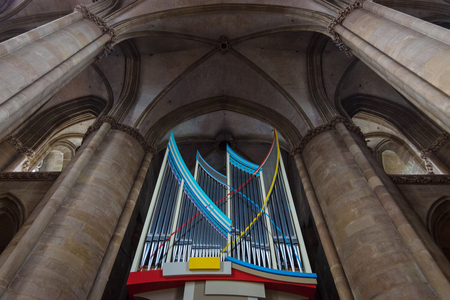honour: MARBURG, GERMANY - APRIL 18, 2015: The church organ and interior of St. Elizabeths Church. The medieval church was built by the Order of the Teutonic Knights in honour of St. Elizabeth of Hungary. Editorial