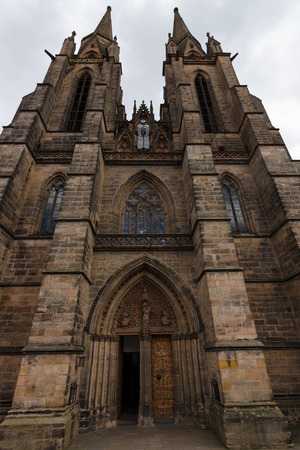 teutonic: MARBURG; GERMANY - APRIL 18; 2015: Main portal of St. Elizabeths Church. The medieval church was built by the Order of the Teutonic Knights in honour of St. Elizabeth of Hungary. Editorial