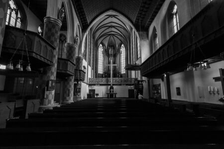 evangelical: MARBURG, GERMANY - APRIL 18, 2015: Interior of University Church of Marburg. Black and white. Medieval Evangelical church in the Gothic style. Editorial