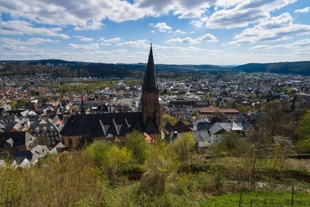 hessen: MARBURG, GERMANY - APRIL 18, 2015: The old districts of the city from the height of the surrounding hills. District Oberstadt. Marburg is a university town in the German federal state (Bundesland) of Hessen.