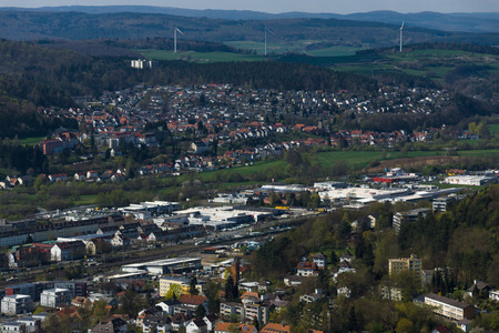 hessen: MARBURG, GERMANY - APRIL 18, 2015: The new and the old part of the city from the surrounding hills. Marburg is a university town in the German federal state (Bundesland) of Hessen.