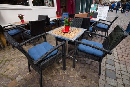 hessen: MARBURG, GERMANY - APRIL 18, 2015: Street cafe in the old quarter of Marburg. District Oberstadt. Marburg is a university town in the German federal state (Bundesland) of Hessen. Editorial