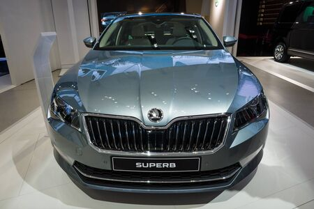 superb: BERLIN - MAY 02, 2015: Showroom. Large family car Skoda Superb (Third generation). Produced since 2015. Editorial