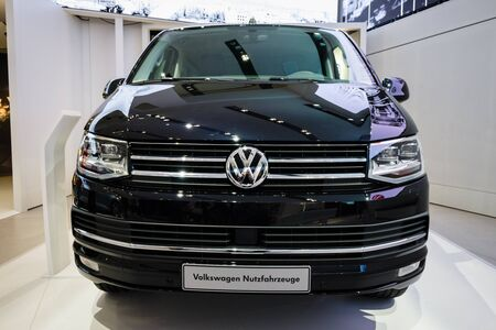 BERLIN - MAY 02, 2015: Showroom. The popular light commercial vehicle Volkswagen Transporter (T5). Produced since 2010.