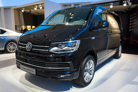 t5: BERLIN - MAY 02, 2015: Showroom. The popular light commercial vehicle Volkswagen Transporter (T5). Produced since 2010.