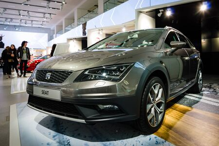 BERLIN - MAY 02, 2015: Showroom. Crossover SEAT Leon X-PERIENCE. Produced since 2014.