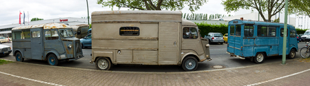 postwar: BERLIN - MAY 10, 2015: Three vans Citroen H Van (HY 72). The most popular post-war French model of the van. Years of production: from 1947 to 1981