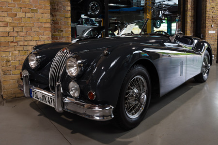 roadster: BERLIN - MAY 10, 2015: The roadster Jaguar XK140. 28th Berlin-Brandenburg Oldtimer Day Editorial