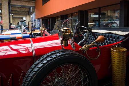 ps: BERLIN - MAY 10, 2015: Fragment of retro car EGO 414 PS, 1923. 28th Berlin-Brandenburg Oldtimer Day