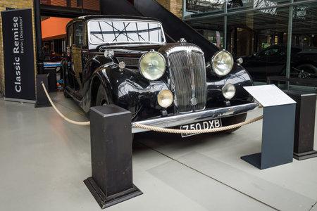 daimler: BERLIN - MAY 10, 2015: Luxury car Daimler DE 36 (Straight-Eight Hooper Landaulet), 1949. The 28th Berlin-Brandenburg Oldtimer Day